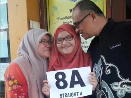 Nik Nur Aisyah (tengah) meraikan kejayaannya mendapat semua A dalam lapan mata pelajaran bersama ibu bapanya semasa keputusan SPM diumumkan. - Foto Sinar Harian